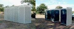 Example of porta potty screen on Dallas neighborhood construction site