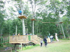 Kids, teens and adults enjoying fresh air and fun in the trees at The Adventure Park at Heritage Museums & Gardens. (Photo: Anthony Wellman, The Adventure Park at Heritage)