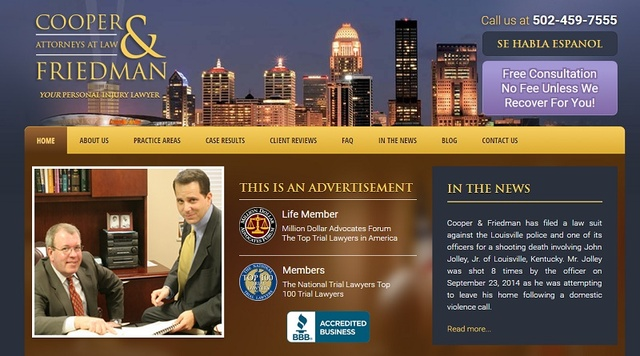 Louisville personal injury law firm Cooper & Friedman introduces new website with updated design and function.