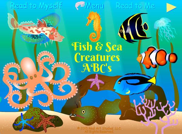 Fish & Sea Creatures ABCs App home screen.