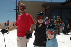 Skiers having fun at Mammoth Mountain