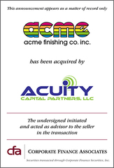Corporate Finance Associates Has Advised Acme Finishing Company in Sale to Acuity Capital Partners, LLC.