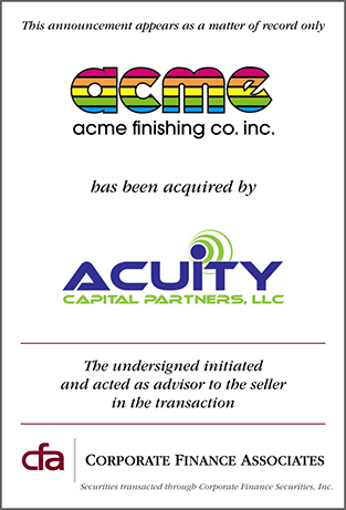 Acuity Capital Partners Acquires Acme Finishing Company