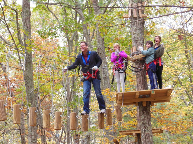 Families enjoy climbing and zip lining together at The Adventure Park. (Photo: Outdoor Ventures)