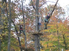 """Not just for kids. These guys selected the advanced """"black diamond"""" aerial trail at The Adventure Park. The Park offers challenges for beginners or advanced climbers. (Photo: Outdoor Ventures)"""