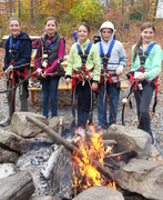 When fall temperatures turn cool climbers enjoy taking a break by the warmth of The Adventure Park's fire pit. (Photo: Outdoor Ventures)