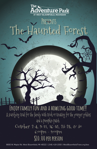 """The poster for """"The Haunted Forest"""" at The Adventure Park at West Bloomfield, MI. October 2015."""