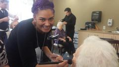 Gentebella Beauty Academy volunteers their day for seniors at Menno Place.