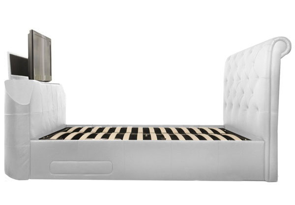 White Leather TV Beds under £1000