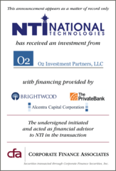 Corporate Finance Associates Advises National Technologies in Recapitalization with O2 Investments
