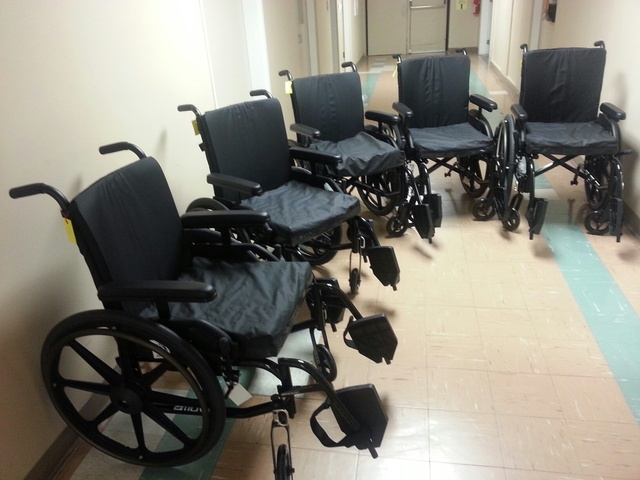 Menno Place receives five donated wheelchairs from Clearbrook Mennonite Church.