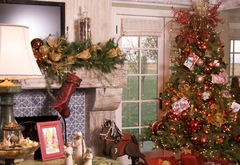 Fireplace and mantle decor on set of Hallmark Holiday program at Jewels' home.