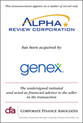 Corporate Finance Associates Chicago Represents Alpha Review Corp. in its Acquisition by Genex Services, LLC