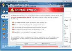 Windows 7 Internet Security 2012 pops up warning message with bogus virus reports