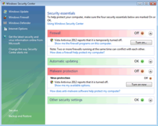 Windows Vista Antivirus 2012 has a fake Windows Security Center