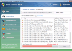 Windows Vista Antivirus 2012 interface