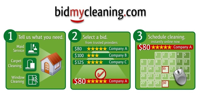 Instant bids and online scheduling for house cleaning services in three easy steps!