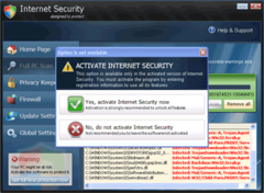Internet Security shows the option to activate registration but activating it won't fix your PC problems.