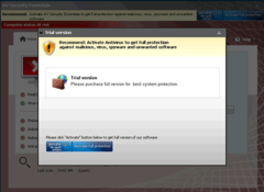 AV Security Essentials shows 'activate' message to encourage PC users to purchase bogus full version