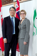 Tom with Minister Wynne at the launch of the Infinity Lab