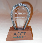 "The ""Outstanding Special Event"" trophy awarded to Outdoor Ventures by The Association for Challenge Course Technologies on January 30, 2016."