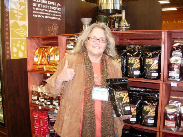 Jackie Mendelson showcases her coffee with a cause at Tarzana, CA Whole Foods