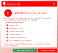 Security Shield allegedly finds 21 infections