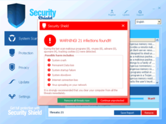 Security Shield runs fake system scan