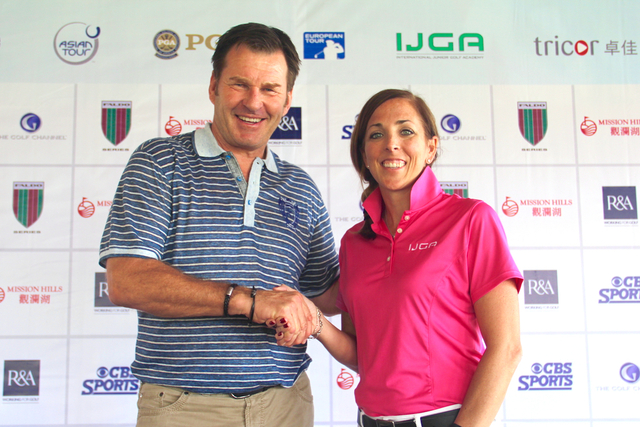 Sir Nick Faldo (L), founder of the Faldo Series, and Ryley Hendry (T), CEO of  IJGA, following the appointment of IJGA as the Official Golf Academy Partner of the Faldo Series.
