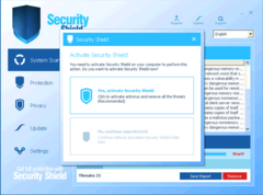 Security Shield 2012 pops up message persuading to activate the bogus program