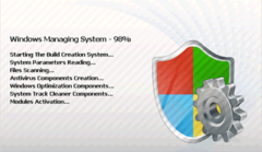 Windows Managing System shows users that its building its components
