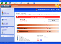Windows Antihazard Solution's so-called advanced security center