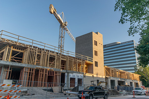 Recent photo of the Everton Apartment Building in Dallas Texas, now under construction by Bob Moore Construction