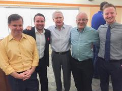 Mark Goodstein (CEO, Scoutables), Jeremy Evans, Ari Kaplan (Chief Scientist, Scoutables), Brendan Dlubala (VP, TJSL Sports Law Society)