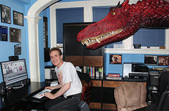 """Brent Backhus and friend working on the """"Feelin' Good"""" music clips at Otherworld Cottage."""