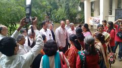 The District Governor Rtn. Gopalrai Mandhaniaji being welcomed at the inauguration of the camp at Sathye College, Vile Parle