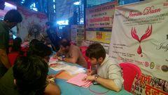 Team filling the registration forms