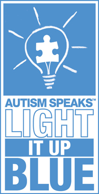 "commemorate World Autism Awareness Day by taking part in the  Autism Speaks ""Light it Up Blue"" campaign"