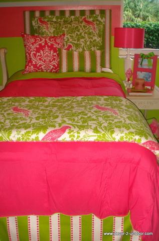 Designer Pink and Green Dorm Bedding