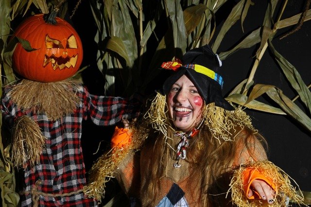 Not too scary--just fun! Actors portray characters suitable for families and kids on the main Haunted Forest Path at The Adventure Park at West Bloomfield.