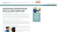 All Best Home Care's Career Portal offers a lot of helpful information on getting started on a career in the field of in-home health care. Learn about employment opportunities and benefits today.