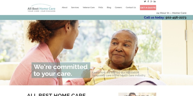 The new home page features an instant button to the Get a Quote form and access to the new blog feature that has information and research on relevant issues regarding in-home care services.