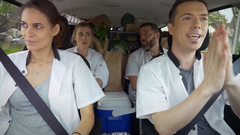 Front Seat: Tracy Ryerson and James Evan Bonifant Backseat: Lindsay Hicks and Josh Bitton