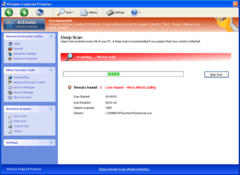 Windows Foolproof Protector does a bogus deep system scan.