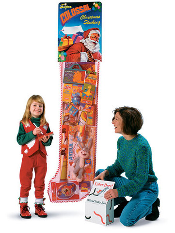 The Giant Christmas Stocking from Bagwell Promotions can be used as a retail traffic promotion or as a fund raiser.