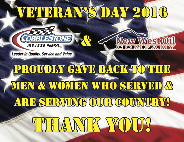 Cobblestone Auto Spa and New West Oil had the privilege of giving back to the retired and active servicemen and women that protect our country this Veteran's Day.