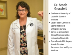 Dr. Stacie Grossfeld is a graduate from the University of Louisville School of Medicine, is Double Board Certified, and specializes in ACL Surgery.
