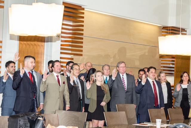 New Thomas Jefferson School of Law Alumni Association Board being sworn in.
