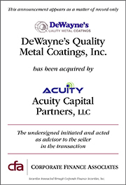 CFA ADVISES DEWAYNE'S QUALITY METAL COATINGS