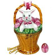 Bunny Rabbit in Basket of Roses Limoges Box | LimogesCollector.com